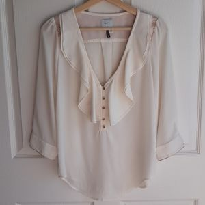 HD In Paris Cream Elinor Ruffled Blouse Top Size 2